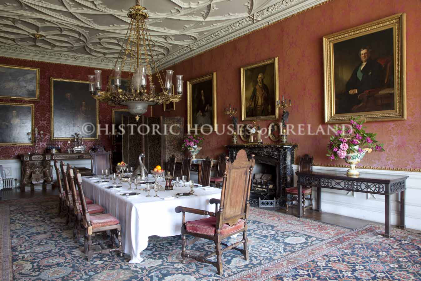 The great dining room at Birr Castle, overlooked by a portrait of the astronomer 3rd Earl.